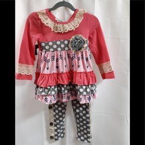 Girls Boutique Matching Set Pink Boho 2T